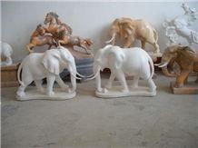 White Marble Handcarved Garden Animal Sculpture