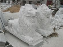 White Marble Lions Sculpture