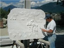 Carver at Work on Marble Palissandro