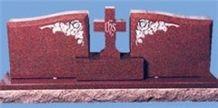 Red Granite Cross Carving Headstone