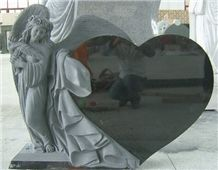 China Absolute Black Granite Tombstone,Angel Monument