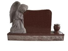 Imperial Red Granite Angel Monument