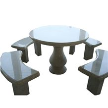 Grey Granite Outdoor Table and Bench