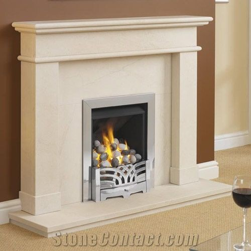 Contemportary Stone Fireplace Mantel Beige Limestone