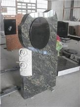 China Green Granite Monument with Carving Flowers