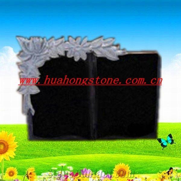 Granite Memorial Plaque Shanxi Black Granite Monument