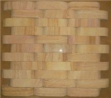 Teak Wood Sandstone Mosaic, Yellow Sandstone
