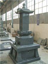 G654 Grey Granite Japanese Tombstone