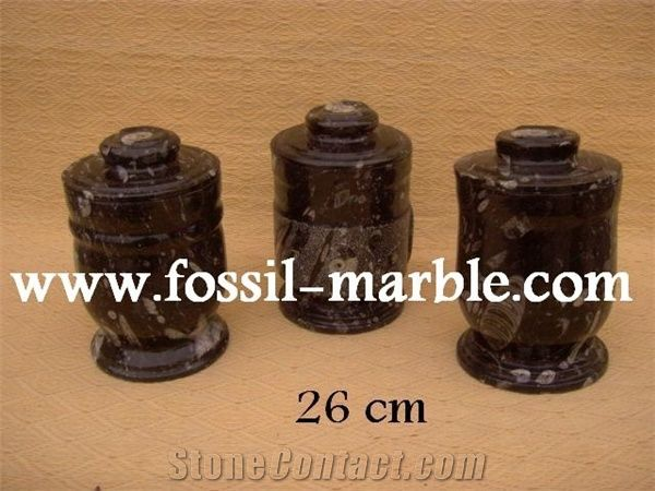 Fossil Black Limestone Urnvase Black Limestone Urn Brown