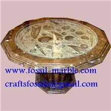 Fossil Brown Limestone Table, Fossil Limestone Brown Marble