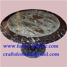 Fossile Black Limestone Tea Table, Fossile Limestone Black Marble