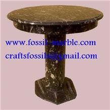 Fossile Brown Limestone Tea Table, Fossil Brown Limestone Tea Table