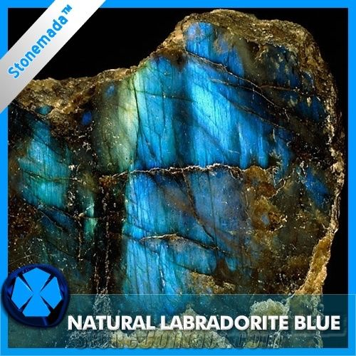True Labradorite Blue Granite Block, Madagascar Stone