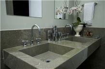 Wild Sea Granite Vanity Top, Sink, Green Granite