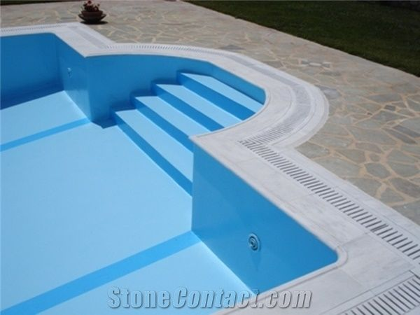 Kavala White Marble Overflow Set Pool Coping From Greece