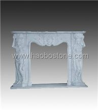 White Marble Fireplace, Stone Fireplace HBFP024