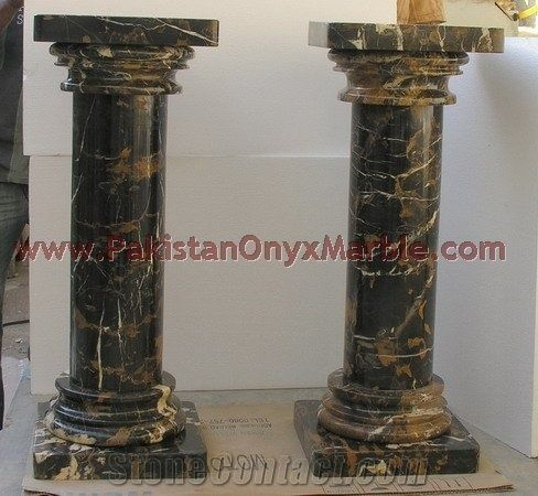 Black And Gold Marble Column From Pakistan Stonecontact Com
