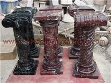 Red Zebra Marble Pedestals