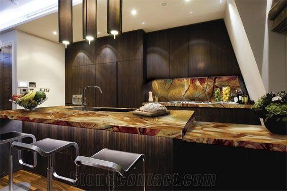 Palomino Quartzite Stone Wood Quartzite Kitchen Top From