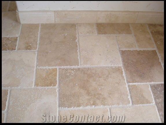 Noce Travertine Floor Chiseled Edge Pattern From United