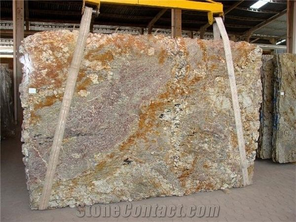 Sienna Bordeaux Granite Slab, Brazil Beige Granite from United States-126671 - StoneContact.com