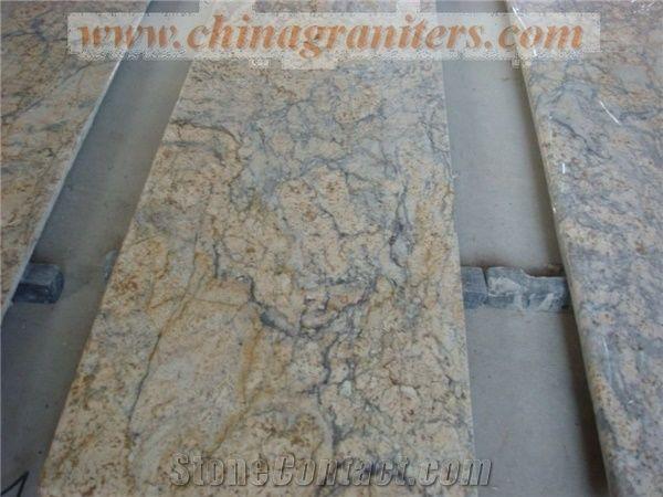 Giallo Diamond Flower Yellow Granite Kitchen Countertops