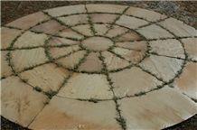 Tint Mint Sandstone Circle, Sandstone Circle Paving