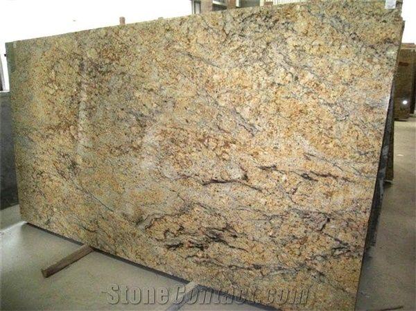 Golden Crystal Granite Slab Brazil Yellow Granite From