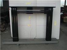 Black Granite Stone Fireplace Mantel