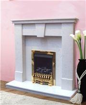 Simple Limestone Fireplace Mantel, Cream Stone Beige Limestone Fireplace Mantel