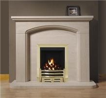 Stone Marble Fireplace Surround, Cream Stone Beige Marble Fireplace Surround