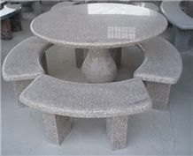 Stone Table and Bench, Red Granite Bench