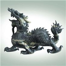 Chinese Dragon or Kylin Handcarfts with Huaan Jade, Hua an Jade Green Granite Artifacts, Handcrafts