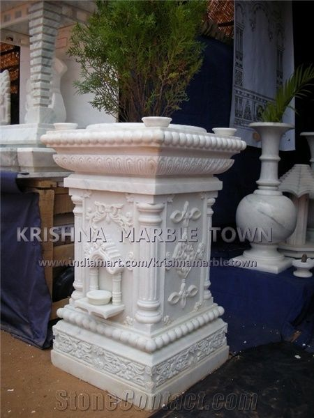 Ambaji White Marble Tulsi Pot From India Stonecontact Com