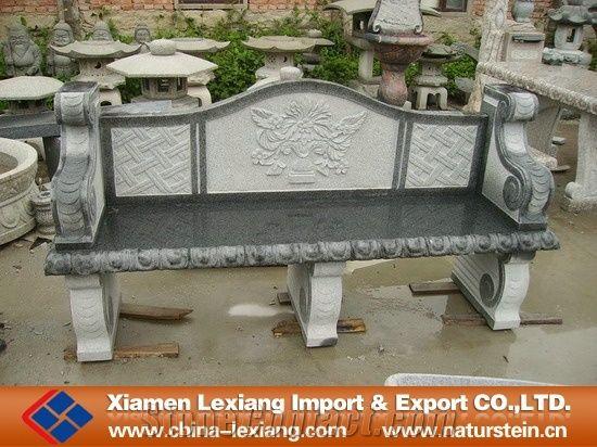 Antique Garden Stone Bench With Back Grey Granite
