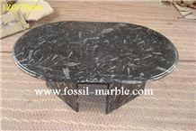 Fossil Black Limestone Tea Table