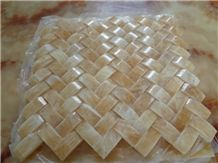 China Honey Yellow Onyx Hexagon Mosaic/ Basketweave Mosaic Tiles for Interior Building Wall Panel