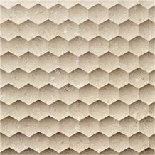 Beige Artificial Marble 3D CNC Stone Wall Panel