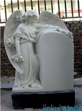 Hunan White Marble Carved Angel Tombstone