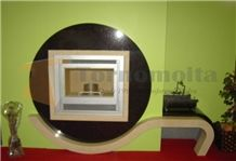 Modern Fireplace L500, Angola ,Sahara Beige Black Granite