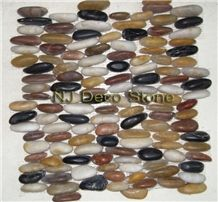 Multicolor Stacked Pebble Mosaic Tile