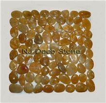 Yellow Pebble Tile, Yellow Onyx Mosaic