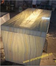LED Lighting Honey Wooden Vein Onyx Glass Desk