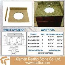 G682 Granite Vanitytop, G682 Yellow Granite Bath Tops