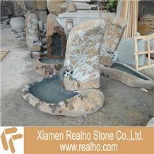 Garden Stone Water Fountain, Nature Stone Brown Granite Fountain