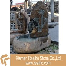 Water Fountain, River Stone/ Yellow Granite Fountain