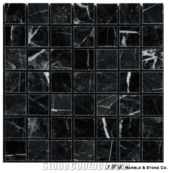 Belevi Black Marble Mosaic From United Arab Emirates