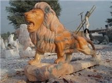 Animal Sculptures Lion Statue, Pink Marble Animal Sculptures