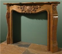 Brown Limestone Fireplace Mantel
