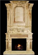 Travtine Yellow Travertine Fireplace Mantel